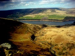 Torside Clough looking towards Torside Reservior in the Longdendale Valley