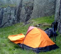 Big Agnes Three Wire Bivy pitched near Lingcove Beck