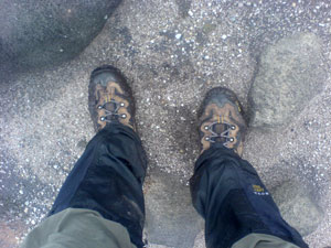 Muddy boots in the peat near Kinder Low