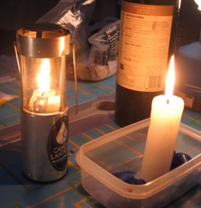 Candles and Shiraz... camping