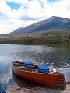 Fishing canoe on Lake Maligne, Jasper National Park, Alberta, Canada