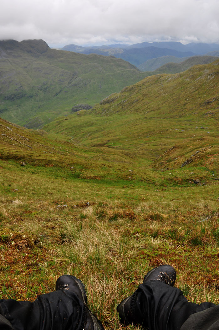 Looking to the mountains of Knoydart from the saddle