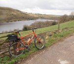 Surly Troll above Walkerwood Reservoir on the Pennine Bridleway