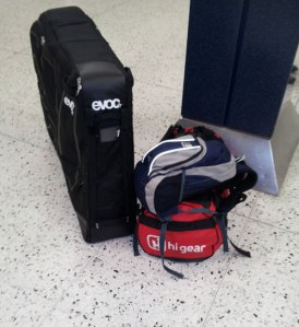 Ready to fly... Evoc bike bag at kit at Manchester Aiport