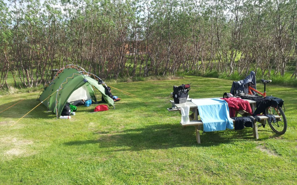 Pitched and airing kit at the excellent Daeli campsite
