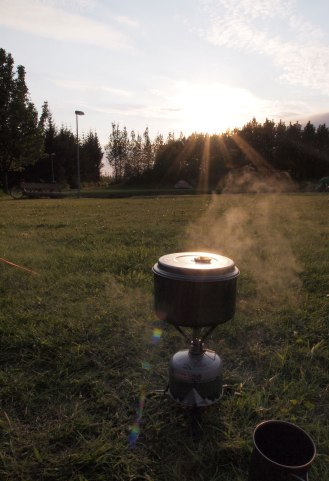 Stove on the boils at Selfoss campsite