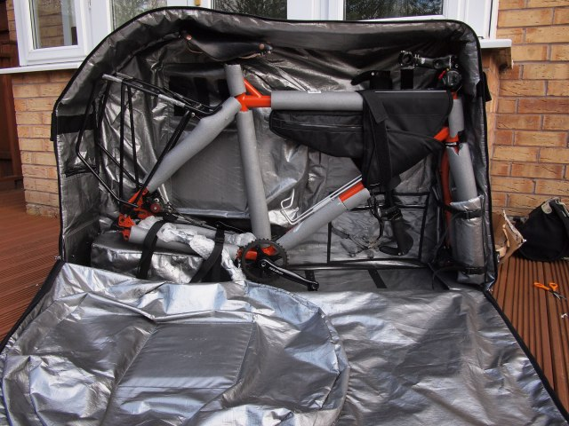 Surly Troll packed in the Evoc bike bag