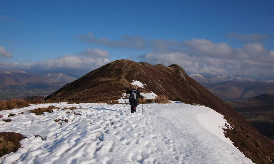 Enjoying the Snow leading to Causey Pike