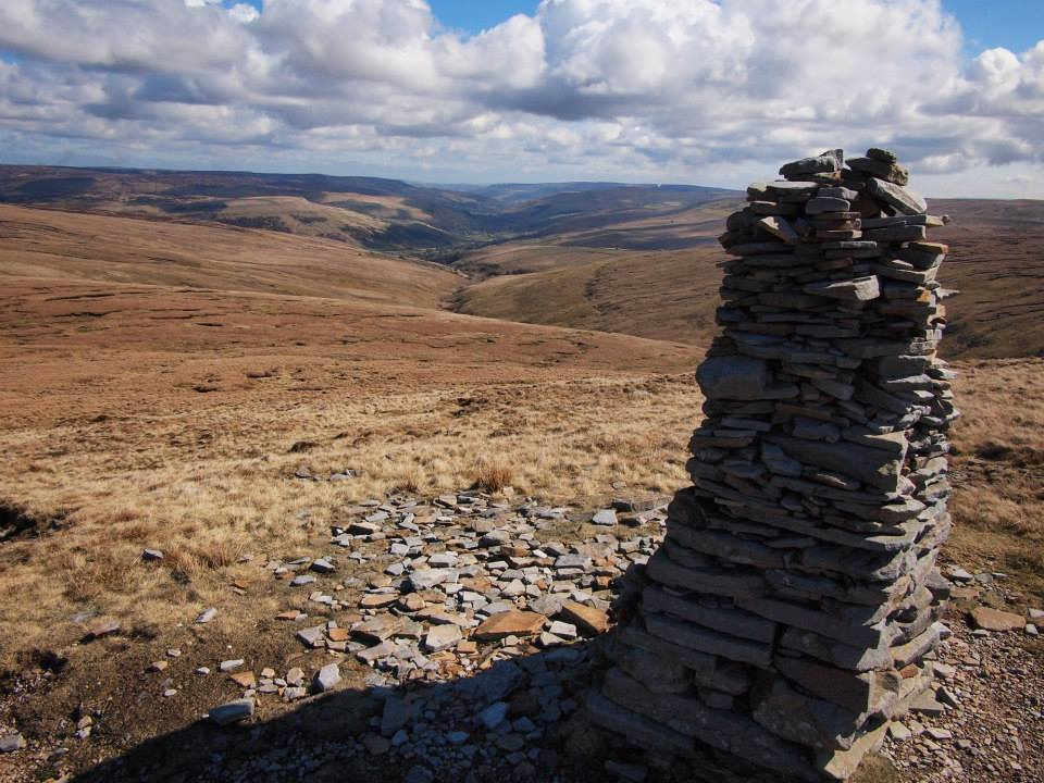 Beacon on Great Shunner Fell looking to Swaledale