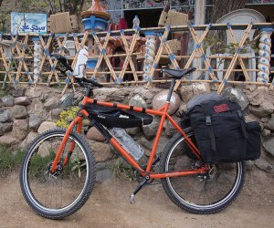 Getting Lighter - The Troll in the Atlas, Morocco, with two panniers, a small drybag and a framebag