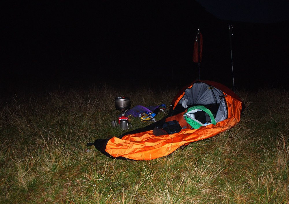 Rolling out the trusty Big Agnes bivvy just below Alport Castles - a nice sheltered bedroom with the right amount of breeze.