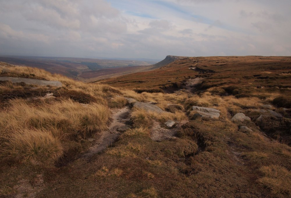 The northern edge of Kinder Scout - lovely wild country in the evening light